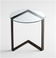 Arrow Table - Iron Side Table with a Circular Glass Top for Spas & Salons