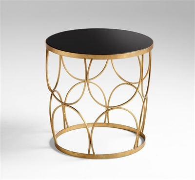 Chic Tempered Glass Golden Marie Side Table for Salon & Spa