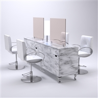 Carrara 4-Person Styling Station with Mirrors