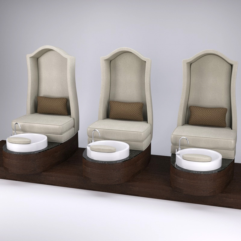 Pedicure chairs built in