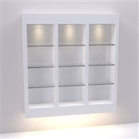 Three (3) Section Retail Wall Display with Glass Shelves - Salon & Spa