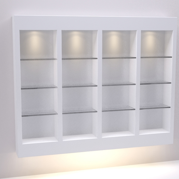 Four (4) Section Retail Wall Display With Glass Shelves   Salon U0026 Spa