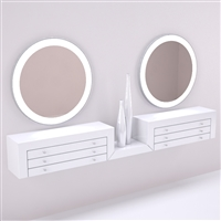 Wall Mounted Double Siena Make-up Vanity Station for Salon