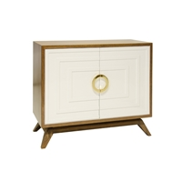 2-Door Hardwood Cabinet with White Lacquered Doors