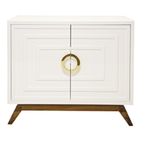 White Lacquered 2-Door Cabinet with Brass Handles