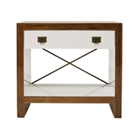Hardwood End Table with White Lacquered Drawer