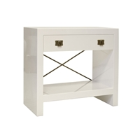 White Lacquered End Table with Brass Handles & Crossbar