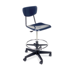 "Virco 3860GCLS - 3000 Series Hard Plastic Mobile Lab Stool with Chrome Footring and Black Base/Wheels - Seat Adjusts from 19 1/2"" to 27""  (Virco 3860GCLS)"