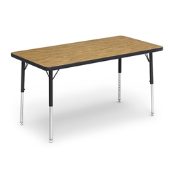 "Virco 483048LO - Rectangular 30"" x 48"" Color Banded Activity Table, 1 1/8 inch Thick Laminate Top, Preschool Height Adjustable Legs  (Virco 483048LO)"