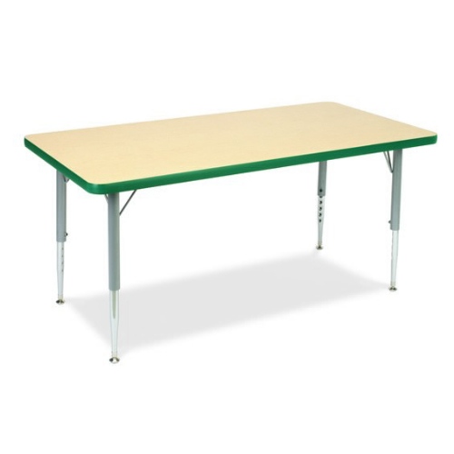 MFO 30W x 60L Rectangular Activity Table with Yellow Thermal Fused Laminate Top and Height Adjustable Pre-School Legs