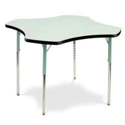 "Virco 48CLO48CHRM- Clover 48"" Activity Table, 1 1/8 inch Thick Laminate Top, Adjustable Legs All Chrome  (Virco 48CLO48CHRM)"