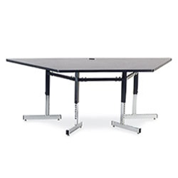 "Virco 87TRAP84 - Table, 8700 series, computer table, cantilever legs, 42"" x 84"" trapezoid, 1-1/8"" high pressure laminate particlebo ard top with backing sheet.  (Virco 87TRAP84)"