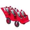 Angeles 6 Passenger Bye-Bye Baby Buggy® Never Flat Fat Tire Red w/ Gray Seat Cushions(Angeles AGL-AFB6400FA)
