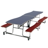"AmTab Mobile Bench Table - Rectangle - 35""W x 12'1""L - 4 Benches (AmTab AMT-MBWT12)"