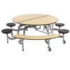 "AmTab Mobile Stool and Bench Table - Round - 60"" Round Diameter - 4 Stools and 2 Benches (AmTab AMT-MSBR6042)"