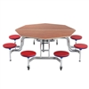 "AmTab Mobile Stool Table - Octagon - 60"" Octagonal Diameter - 8 Stools (AmTab AMT-MSOC608)"
