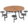 "AmTab Mobile Stool Table - Round - 60"" Round Diameter - 8 Stools (AmTab AMT-MSR608)"