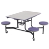 "AmTab Mobile Stool Table - Rectangle - 30""W x 4'L - 4 Stools (AmTab AMT-MST44)"