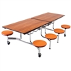 "AmTab Mobile Stool Table - Rectangle - 30""W x 8'1""L - 8 Stools (AmTab AMT-MST88)"