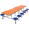 "AmTab Mobile Stool Table - Wave - 35""W x 10'1""L - 12 Stools (AmTab AMT-MSWT1012)"