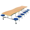 "AmTab Mobile Stool Table - Wave - 35""W x 12'1""L - 12 Stools (AmTab AMT-MSWT1212)"