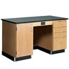 "Diversified Woodcrafts 5' Instructor's Desk w/ Cabinet on Left Side - Epoxy Resin Top - 60""W x 30""D<br>(Diversified Woodcrafts DIV-1216KF-L)"