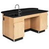 "Diversified Woodcrafts Versacurve Instructor's Desk w/ Sink & Door Cabinet - 72""W x 40""D<br>(Diversified Woodcrafts DIV-1344K)"