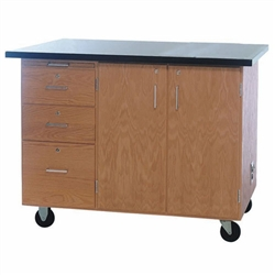 "Diversified Woodcrafts Mobile Instructor's Desk w/ Flat Top & Rod Sockets - 48"" W x 28"" D (Diversified Woodcrafts DIV-4332KF-RS)"