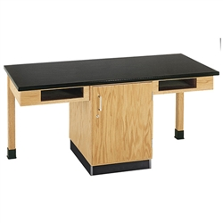 "Diversified Woodcrafts 2 Station Table w/ Door & Book Compartments - ChemGuard Top - 66""W x 24""D (Diversified Woodcrafts DIV-C2102K)"