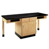 "Diversified Woodcrafts 2 Station Table w/ Door, Drawers & Book Compartments - ChemGuard Top - 66""W x 24""D (Diversified Woodcrafts DIV-C2202K)"
