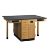 "Diversified Woodcrafts Four Station Service Center w/ Out Sink & Door/Drawers- Solid Phenolic Resin Top - 66""W x 48""D(Diversified Woodcrafts DIV-C2414KF)"