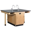 "Diversified Woodcrafts Four Station Service Center w/ Sink & Door- Solid Phenolic Resin Top - 66""W x 48""D(Diversified Woodcrafts DIV-C2614K)"