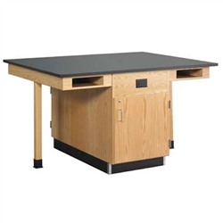 "Diversified Woodcrafts Four Station Service Center w/ Out Sink & Door - Solid Phenolic Resin Top - 66""W x 48""D(Diversified Woodcrafts DIV-C2614KF)"