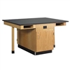 "Diversified Woodcrafts Eight Station Service Center w/ Out Sink & Door - Solid Phenolic Resin Top - 132""W x 48""D(Diversified Woodcrafts DIV-C2624KF)"
