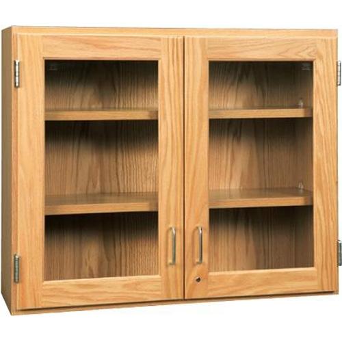 Diversified Woodcrafts Oak Glass Door Wall Storage Cabinet 42w X 30h
