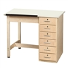 "Diversified Woodcrafts Art / Drafting Table w/ 1 Piece & 6 Drawers - 36""W x 24""D  (Diversified Woodcrafts DIV-DT-4A)"