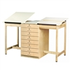"Diversified Woodcrafts 2 Station Art / Drafting Table w/ 8 Drawers  - 70""W x 32-1/2""D  (Diversified Woodcrafts DIV-DT-82A)"