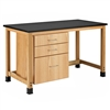 "Diversified Woodcrafts Add-A-Cabinet Table w/ 3 Drawer - Epoxy Resin Top - 60""W x 30""D (Diversified Woodcrafts DIV-H7146K36S-25)"