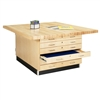 "Diversified 4-Station Workbench, Double Faced Cabinet w/o - 64""W x 54""D (Diversified Woodcrafts DIV-WW33-0V)"