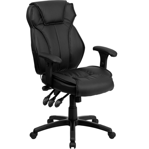 Flash Furniture High Back Black Leather Executive Office Chair With Triple Paddle Control Br