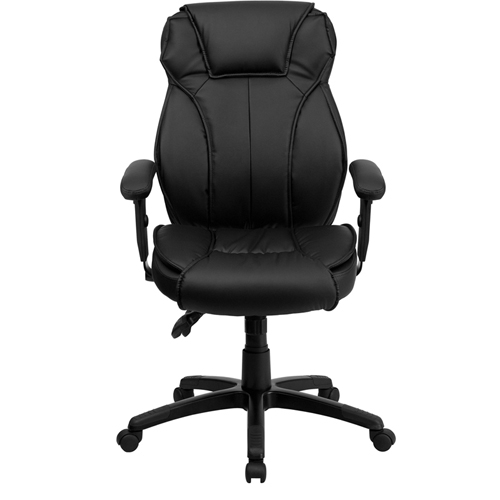 flash furniture high back black leather executive office chair with