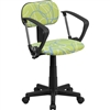 Flash Furniture Blue & White Swirl Printed Green Computer Chair with Arms<br>(FLA-BT-SWRL-A-GG)
