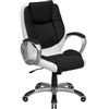 Flash Furniture High Back White Leather Executive Office Chair with Flip-Up Arms<br>(FLA-CH-CX0217M-GG)