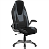 Flash Furniture High Back Black & Gray Vinyl Executive Office Chair with Black Mesh Insets and Flip Up Arms<br>(FLA-CH-CX0326H02-GG)