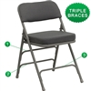 Flash Furniture HERCULES Series Premium Curved Triple Braced & Quad Hinged Fabric Upholstered Metal Folding Chair<br>(FLA-HA-MC320AF-GG)