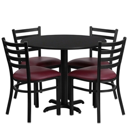 Flash Furniture 36'' Round Laminate Table Set with 4 Ladder Back Metal Chairs - Burgundy Vinyl Seat<br>(FLA-HDBF-B-GG)