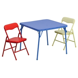 Flash Furniture Kids Colorful 3 Piece Folding Table and Chair Set<br>(FLA-JB-10-CARD-GG)