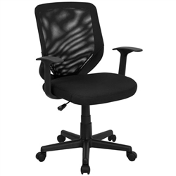 Flash Furniture Mid-Back Black Mesh Office Chair with Mesh Fabric Seat<br>(FLA-LF-W-95A-BK-GG)