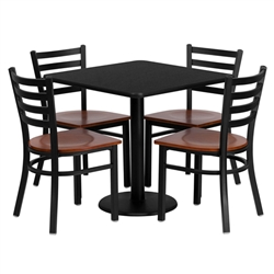 Flash Furniture 30'' Square Black Laminate Table Set with 4 Ladder Back Metal Chairs - Cherry Wood Seat <br>(FLA-MD-0003-GG)