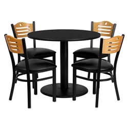 Flash Furniture 36'' Round Black Laminate Table Set with 4 Wood Slat Back Metal Chairs - Black Vinyl Seat<br>(FLA-MD-0009-GG)